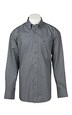George Strait by Wrangler Men's Cavender's Exclusive L/S Charcoal Grey Print Western Shirt