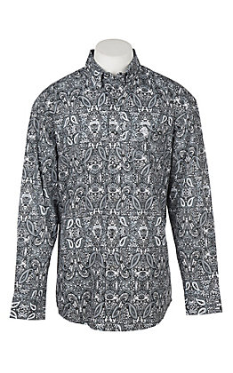 George Strait by Wrangler Men's Cavender's Exclusive Black Paisley Print Western Shirt - Big & Tall