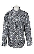 George Strait by Wrangler Men's Cavender's Exclusive Black Paisley Print Western Shirt