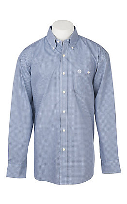 George Strait by Wrangler Men's Cavender's Exclusive L/S Blue Geo Print Western Shirt