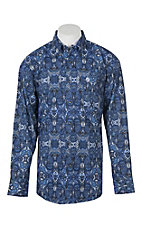 George Strait by Wrangler Men's Cavender's Exclusive Blue Paisley Print Western Shirt - Big & Tall