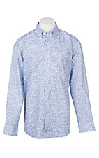 George Strait by Wrangler Men's Cavender's Exclusive Blue Paisley Print Western Shirt - Big & Tall Sizes