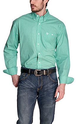 Wrangler George Strait Men's Green Geo Print Long Sleeve Stretch Western Shirt - Cavender's Exclusive