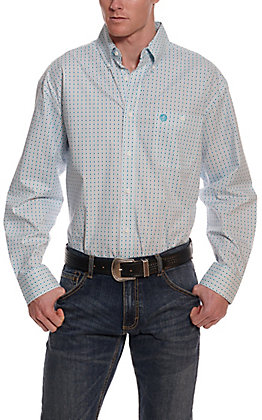 Wrangler George Strait Men's White and Turquoise Geo Print Cavender's Exclusive Long Sleeve Western Shirt - Big & Tall