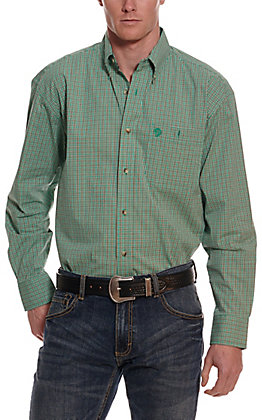 Wrangler George Strait Men's Teal and Brown Plaid Long Sleeve Western Shirt - Cavender's Exclusive