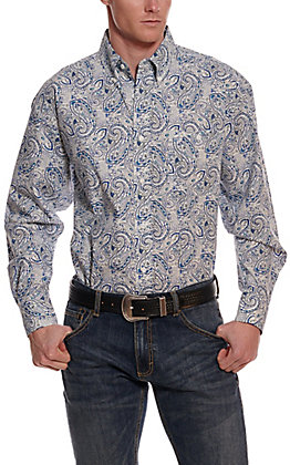 Wrangler George Strait Men's White and Blue Paisley Cavender's Exclusive Long Sleeve Western Shirt - Big & Tall