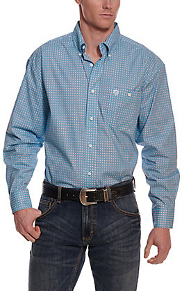 Wrangler George Strait Men's Turquoise Geo Print Cavender's Exclusive Long Sleeve Western Shirt - Big & Tall