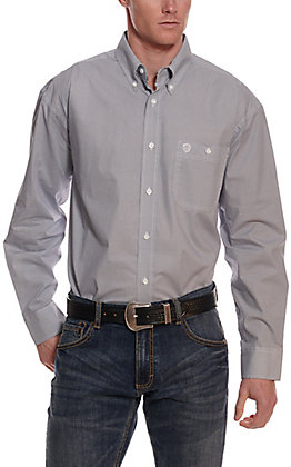 Wrangler George Strait Men's White and Navy Diamond Print Long Sleeve Western Shirt - Cavender's Exclusive
