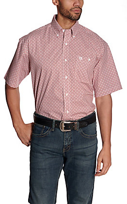 Wrangler George Strait Men's White with Red Diamond Print Short Sleeve Stretch Western Shirt - Cavender's Exclusive