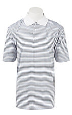 George Strait by Wrangler Men's White Stripe Polo