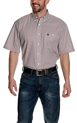 Wrangler George Strait Men's Big & Tall White with Burgundy Geo Print Stretch Short Sleeve Western Shirt - Cavender's Exclusive