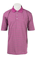 George Strait by Wrangler Men's Purple Stripe Polo