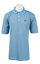 George Strait by Wrangler Men's Light Blue Stripe Polo