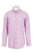 George Strait by Wrangler Men's Pink and White Plaid L/S Western Shirt