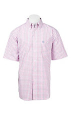 George Strait by Wrangler Men's Pink and White Plaid S/S Western Shirt - Big & Tall