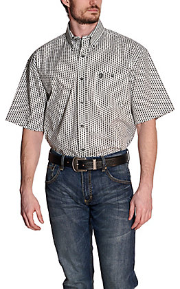 Wrangler George Strait Men's White with Black Medallion Print Short Sleeve Stretch Western Shirt - Cavender's Exclusive