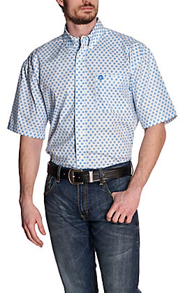 Wrangler George Strait Men's White with Blue Medallion Print Short Sleeve Stretch Western Shirt - Cavender's Exclusive
