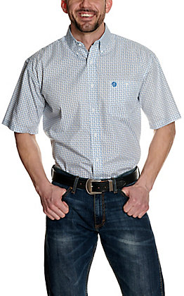 Wrangler George Strait Men's Big & Tall White with Navy Paisley Print Stretch Short Sleeve Western Shirt - Cavender's Exclusive