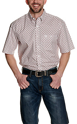 Wrangler George Strait White with Red and Navy Medallion Print Stretch Short Sleeve Western Shirt - Cavender's Exclusive