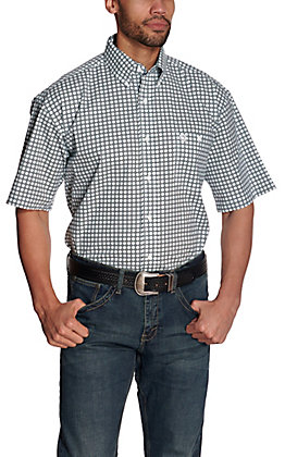 Wrangler George Strait Men's White with Black & Turquoise Geo Print Short Sleeve Stretch Western Shirt - Cavender's Exclusive