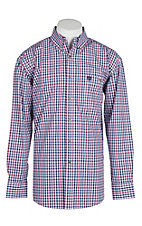 George Strait by Wrangler Navy and Pink Plaid Western Shirt