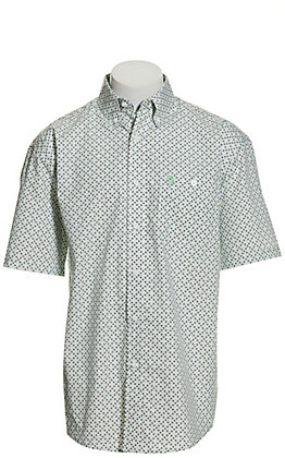 Wrangler George Strait Men's White with Black & Mint Geo Print Short Sleeve Western Shirt