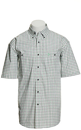 Wrangler George Strait Men's White with Mint & Black Plaid Short Sleeve Western Shirt