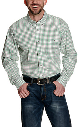 Wrangler George Strait Mint and Grey Plaid Relaxed Long Sleeve Western Shirt