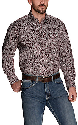 Wrangler George Strait Men's Burgundy with White Paisley Print Relaxed Fit Stretch Long Sleeve Western Shirt