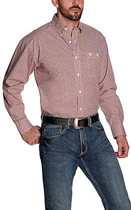 Wrangler George Strait Men's Red with White and Black Diamond Print Relaxed Fit Stretch Long Sleeve Western Shirt – Cavender's Exclusive