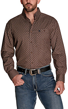 Wrangler George Strait Men's Burgundy with Black and Khaki Geo Print Relaxed Fit Stretch Long Sleeve Western Shirt