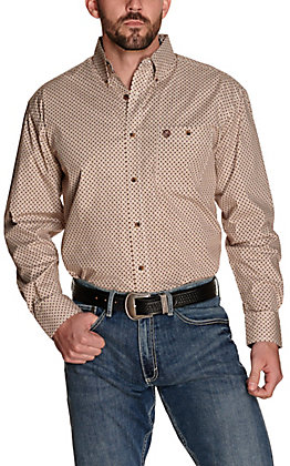 Wrangler George Strait Men's Tan and Burgundy Geo Print Relaxed Fit Stretch Long Sleeve Western Shirt