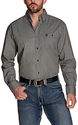 Wrangler George Strait Men's Black with White and Red Print Relaxed Fit Stretch Long Sleeve Western Shirt - Big & Tall