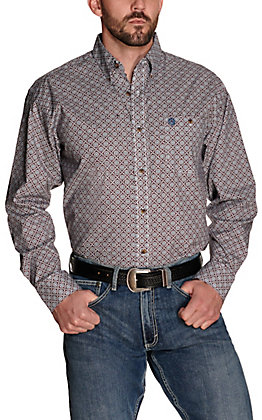 Wrangler George Strait Men's Burgundy with Navy Medallion Print Relaxed Fit Stretch Long Sleeve Western Shirt