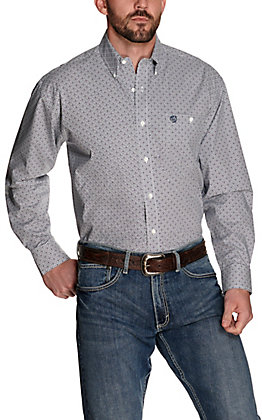 Wrangler George Strait Men's White with Blue and Purple Diamond Print Relaxed Fit Stretch Long Sleeve Western Shirt