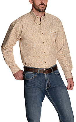 Wrangler George Strait Men's Khaki with White Paisley Print Relaxed Fit Stretch Long Sleeve Western Shirt - Big & Tall