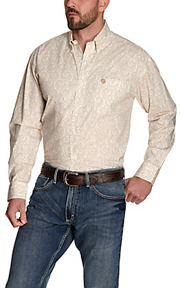 Wrangler George Strait Men's White with Khaki Paisley Print Relaxed Fit Stretch Long Sleeve Western Shirt