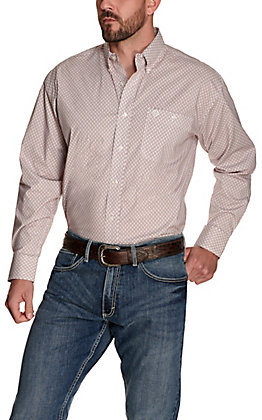 Wrangler George Strait Men's White with Burgundy Medallion Print Relaxed Fit Stretch Long Sleeve Western Shirt - Big & Tall