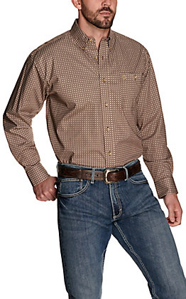 Wrangler George Strait Men's Brown with Tan Geo Print Relaxed Fit Stretch Long Sleeve Western Shirt - Big & Tall