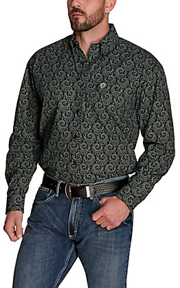 Wrangler George Strait Men's Black with Grey Paisley Print Relaxed Fit Stretch Long Sleeve Western Shirt