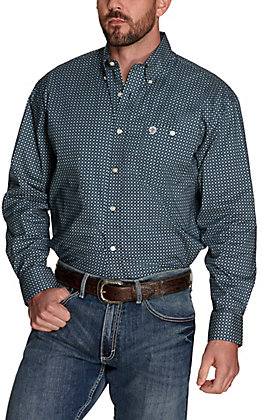 Wrangler George Strait Men's Navy with Teal Green Geo Print Relaxed Fit Stretch Long Sleeve Western Shirt - Big & Tall
