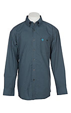 Wrangler George Strait Men's White Black and Turquoise Dot Print Western Shirt