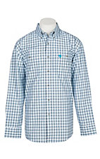 Wrangler George Strait Men's Black Turquoise and White Plaid Western Shirt