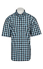 Wrangler George Strait Men's Black White and Turquoise Plaid S/S Western Shirt