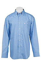 George Strait by Wrangler L/S Men's Blue Mini Print Western Shirt - Big & Tall