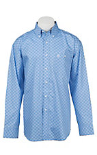 George Strait by Wrangler L/S Men's Blue Mini Print Western Shirt