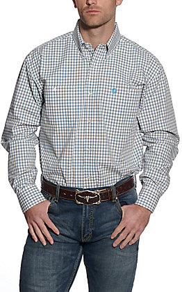 Wrangler George Strait Men's White and Plaid Plaid Long Sleeve Western Shirt