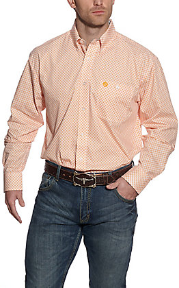 Wrangler George Strait Men's White with Orange Geo Print Long Sleeve Western Shirt