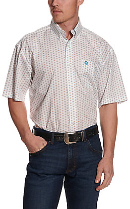Wrangler George Strait Men's White with Orange & Blue Print Short Sleeve Western Shirt