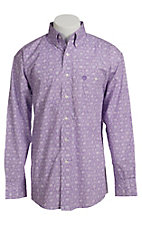 George Straight Wrangler White and Purple Mini Floral Print Shirt